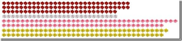 豆バラ赤×93,豆バラ白×27,豆バラピンク×73,豆バラ黄×71