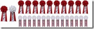 胸章リボン大赤白各1、胸章リボン中赤10、胸章リボン小白×15
