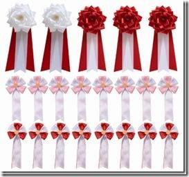 来賓:胸章大赤×3,主宰者側:胸章大白×2,関係者:五方ピンク×8,五方赤×8